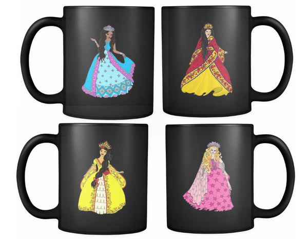 Princess Black or White Mug Set of 4