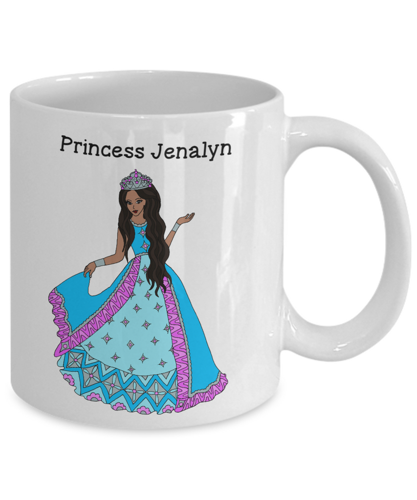 Personalized White Mug - African American Princess