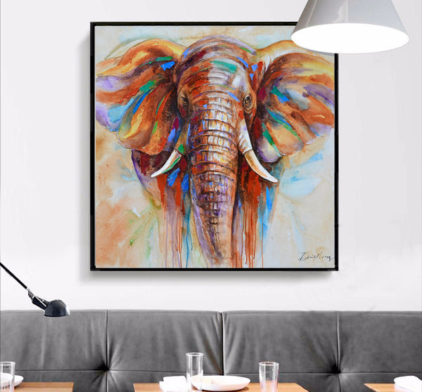 Wildlife Colorful Elephant Wall Art