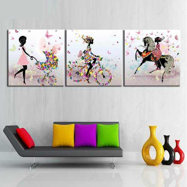 Canvas Art 3 Panel Modern Woman