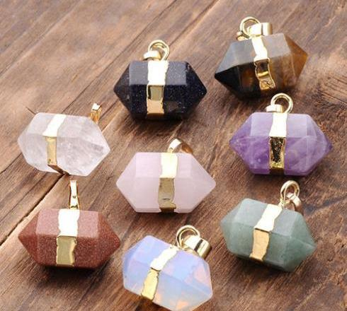 Hexagon Crystal Quartz Healing Point Chakra Pendants For Necklace