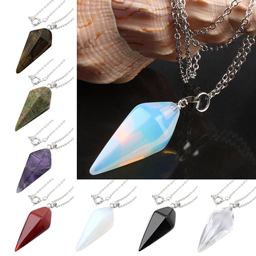 Natural Quartz Hexagon Healing Chakra Crystal Stone Pendant