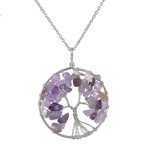 Tree of life Pendant Rose Crystal Necklace Chakra Jewelry