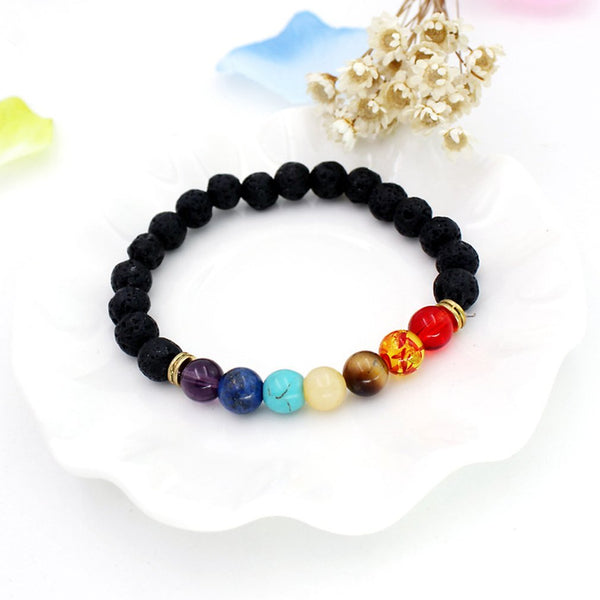 Handmade Healing Anti-fatigue 7 Chakra  Natural Lava Stone Beads