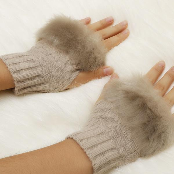Fingerless Knitted Faux Fur Gloves