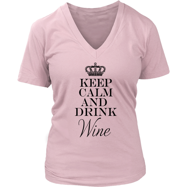 Womens V-Neck - Keep Calm and Drink Wine