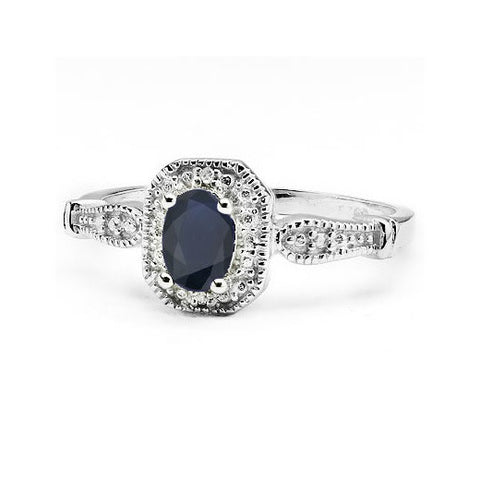 iNatemy Platinum over Sterling Silver, Black Sapphire Ring; Size 7