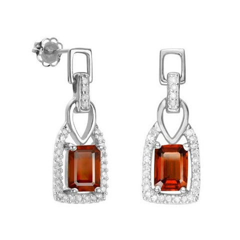 iNatemy Platinum over Silver, Garnet and Diamond Earrings; 2.63 Carat