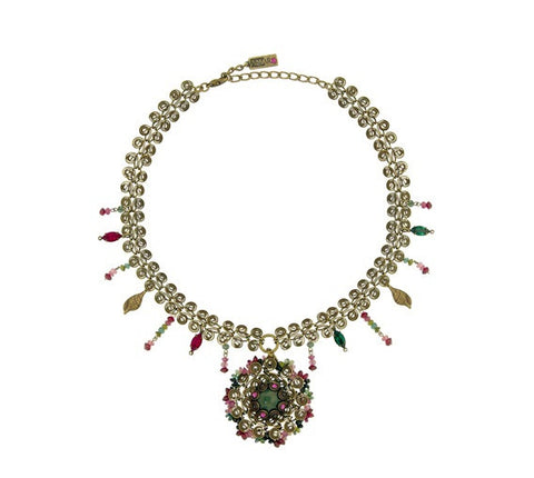 'Babushka' Collection Created by Amaro Jewelry Studio 24K Rose Gold Plated Necklace Beautifully Designed with Moss Agate Green, Garnet, Pink Abalone, Green Jade and Swarovski Crystals