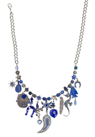 'Blue Eye' Collection Silver Plated Fashionable Chain Designed by Amaro Jewelry Studio Decorated with Sodalite, Lapis, Onyx, Abalone and Swarovski Crystals