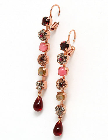 'Burgundy' Collection 24K Rose Gold Plated Dangle Earrings by Amaro Jewelry Studio with Flower Details, Tear Drop, Garnet, Jasper, Leopard Skin, Abalone and Swarovski Crystals