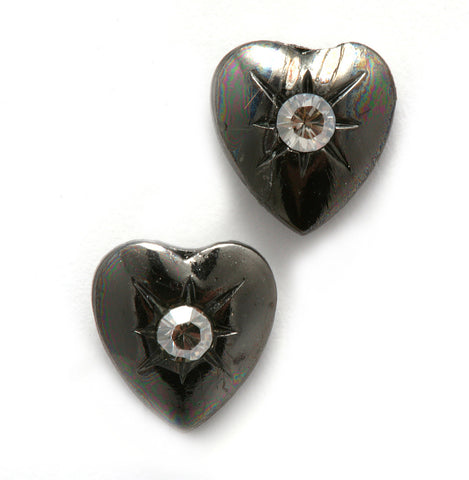 .925 Sterling Silver Plated Heart Earrings from 'Deep Inside' Collection by Israeli Amaro Jewelry Studio Set with Swarovski Crystal Accents; Handmade in Israel