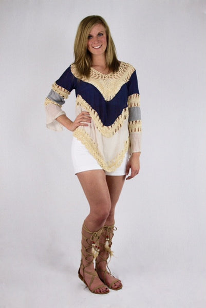 Multi Color Blue Crochet Top