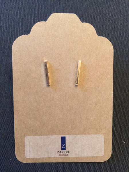 Gold Center Post Stud Earrings with Center Post