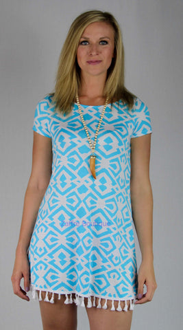 Aqua Multi Print Short Sleeve Tunic T Shirt Dress with Fringe Detail