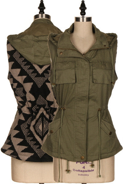 AZTEC SWEATER BACK MILITARY VEST