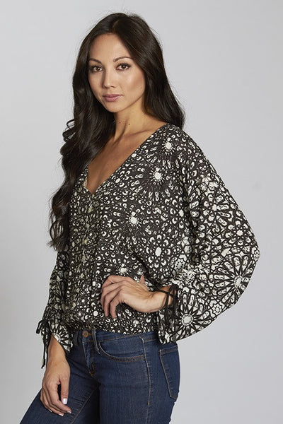 Geo Printed Button Up Blouse with Tie Sleeve Detail