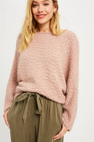 Fuzzy Knit Batwing Pullover Sweater