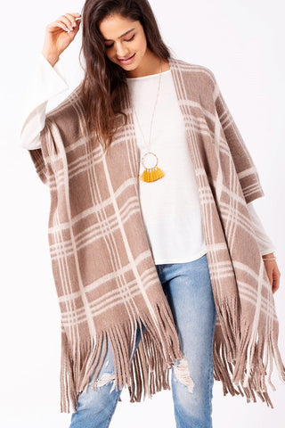 Plaid Woven Ruana with Fringe