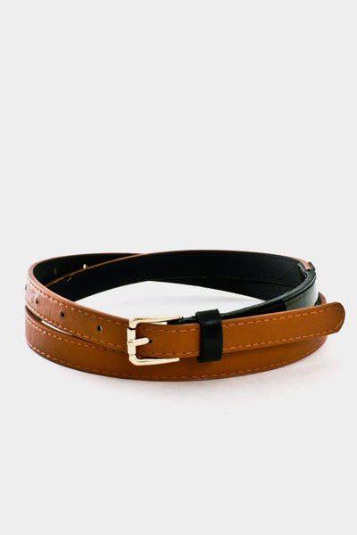 Slim Faux Brown Leather and Black Patent Belt