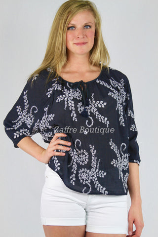 Navy Embroidered Eyelet Top Floral