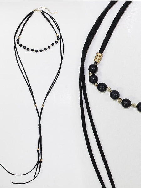 Suede with Black Bead Choker Necklace