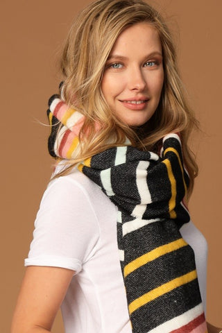 Black Multi Stripe Oblong Scarf