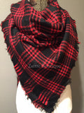 Black and Red Plaid Oversized Blanket Scarf