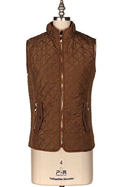 Brown Fur Lined Padded Vest