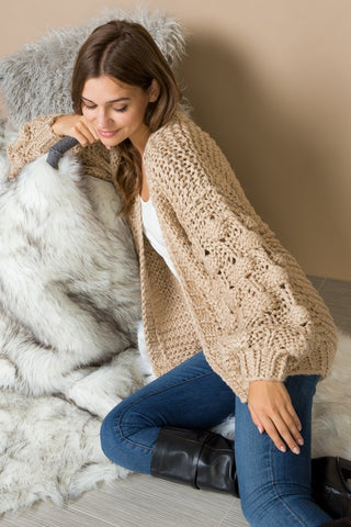 Bubble Sleeve Cardigan Sweater