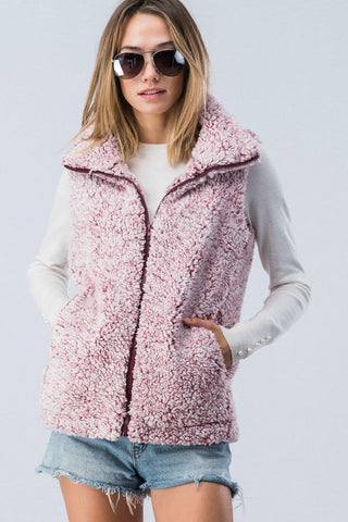 Burgundy Sherpa Zip Up Vest