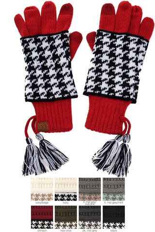CC Knitted Houndstooth Double Gloves