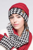 CC Knitted Beanie with Houndstooth Cuff