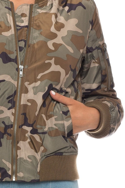 Camo Print Bomber Jacket with Pockets