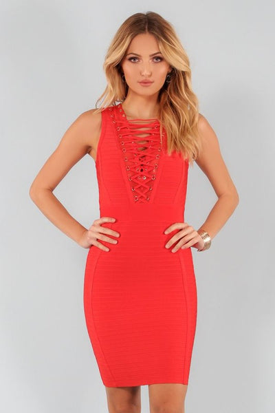 Candy Red Lace Up Bandage Dress