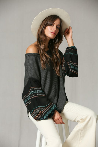 Thermal Aztec Sleeve Top