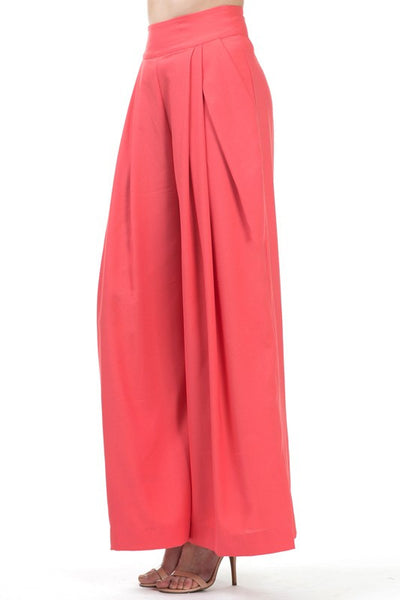 Coral High Waisted Wide Leg Trousers