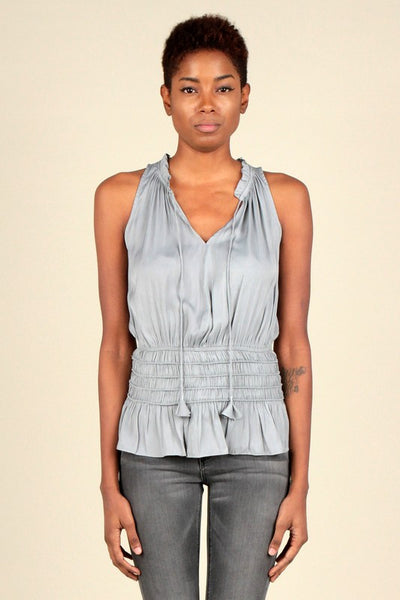 Sleeveless Elastic Waist Top