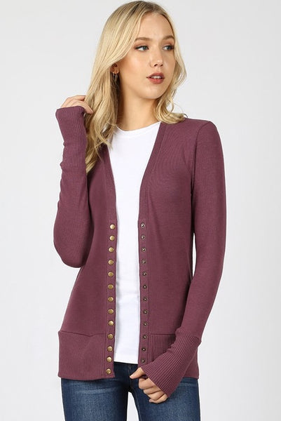 Eggplant Snap Button Cardigan