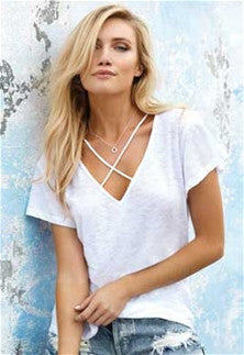 Elan White Criss Cross Front Top