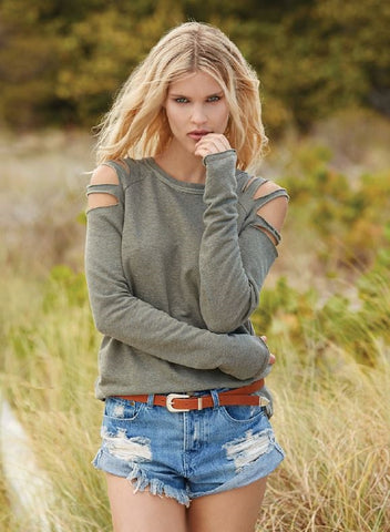 Elan Cut Out Shoulder Sweatshirt