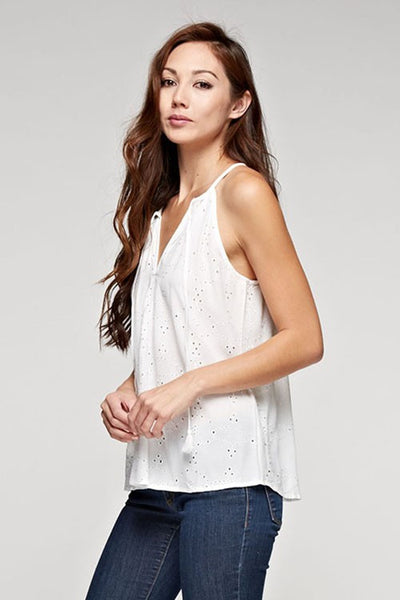 Eyelet Tie Front Tank