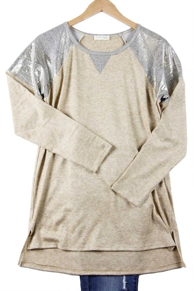 Oatmeal Top with Foil Printed Shoulders