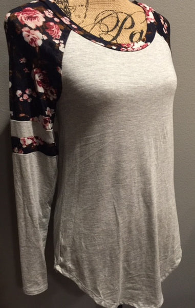 Heather Gray with Navy Floral Raglan Sleeve Top