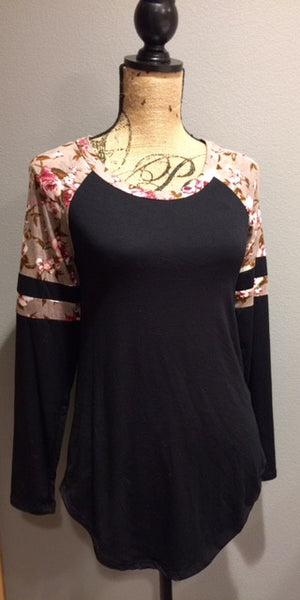 Black with Floral Raglan Sleeve Top