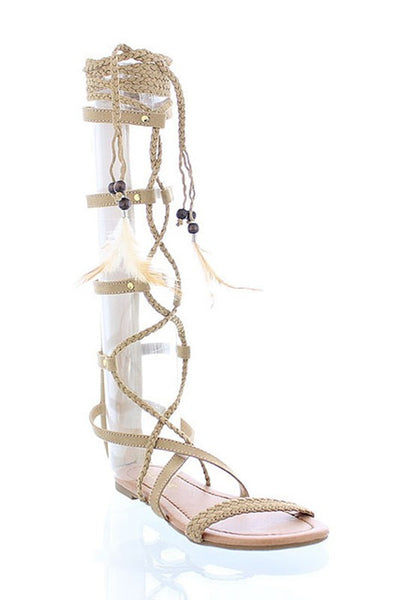 Beige Gladiator Lace Up Sandals