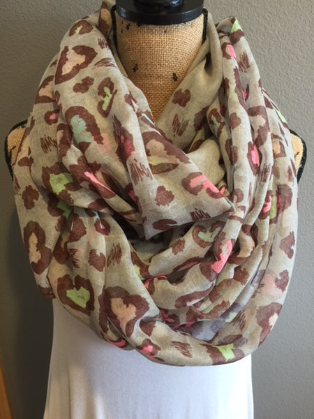 Leopard Scarf - Gray