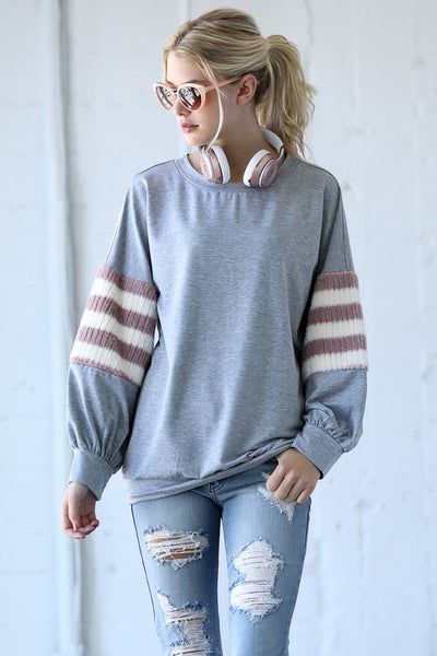 Gray Stripe Band Detail Top