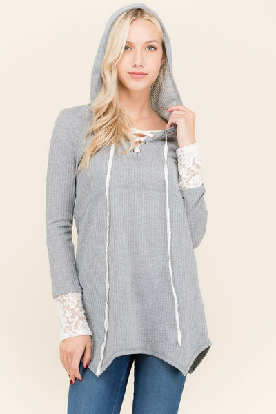 Waffle Hoodie with Lace Cuff