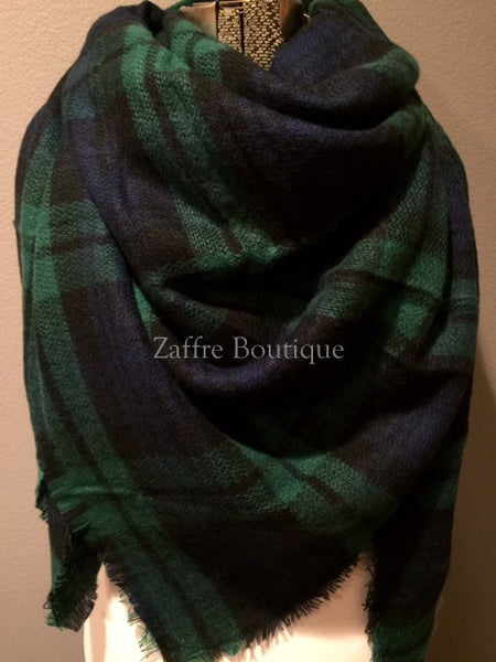 Plaid Green Navy Black Oversized Blanket Scarf